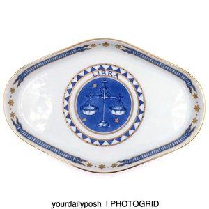 Vintage Libra zodiac ceramic trinket tray dish